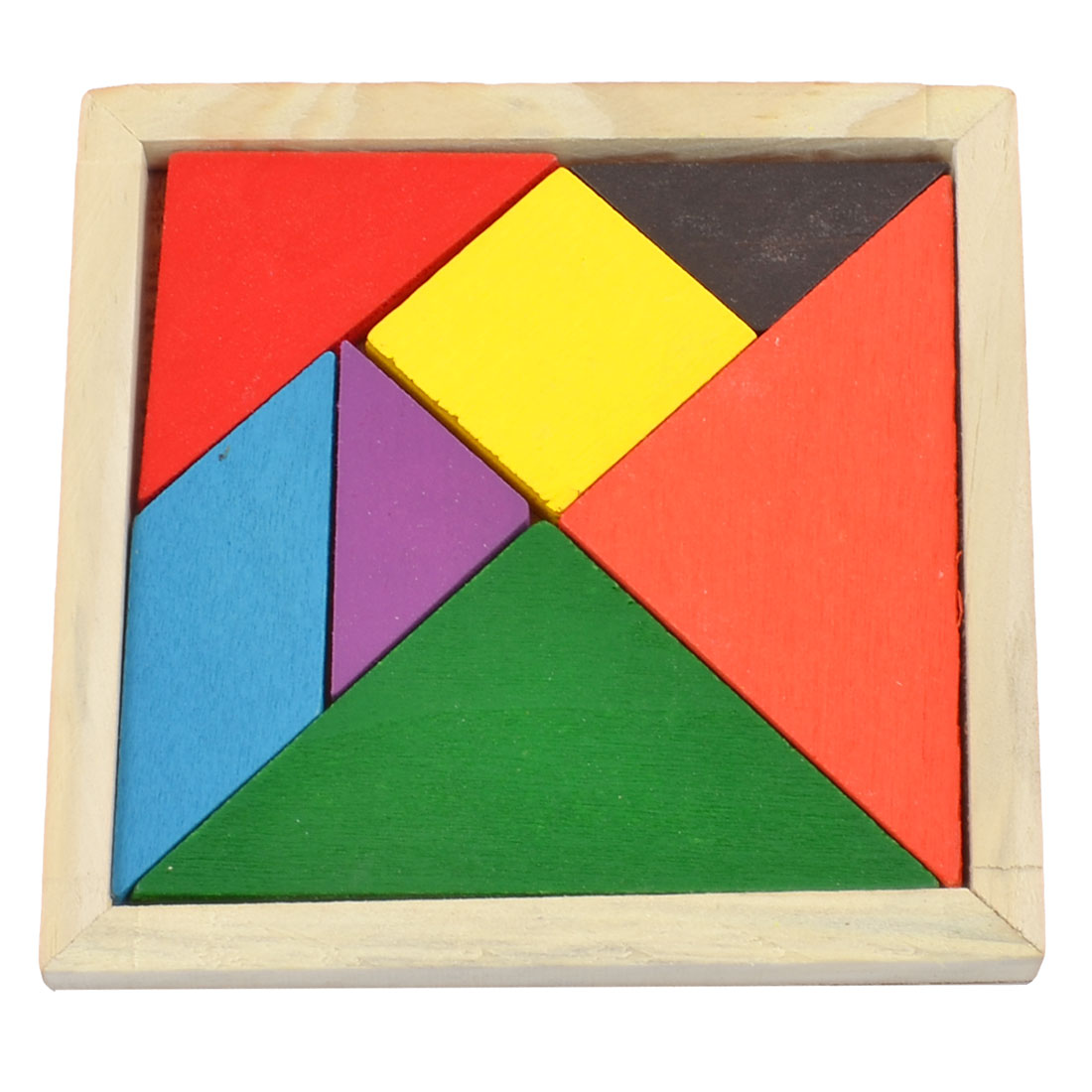 Child 7 Parts Wooden Geometry Puzzle Brain Tester Training Rainbow Tangram