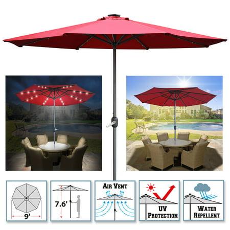 Sunrise Outdoor Patio 9' Aluminum Solar Powered Patio Umbrella with 8 ribs, 24-LED-Lights Parasol Sunshade with Crank ( Burgundy) ()