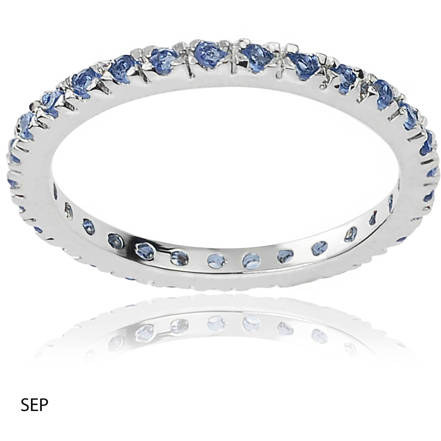 Alexandria Collection Women's CZ Sterling Eternity Anniversary Ring, Dark Blue