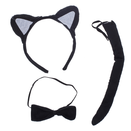 Lux Accessories Halloween Black Cat Ear Tail Bow Accessories Costume Set (3PCS) - Cat Costume Accessories