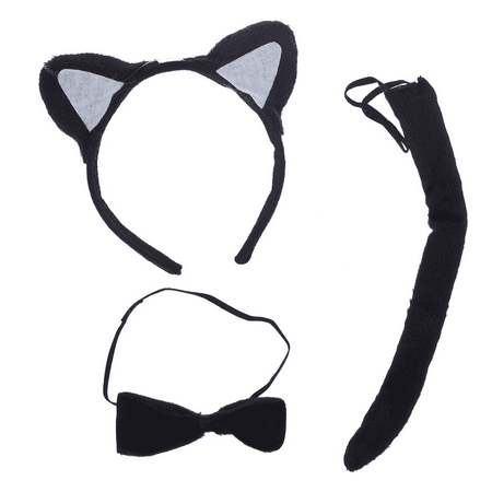 Lux Accessories Halloween Black Cat Ear Tail Bow Accessories Costume Set (3PCS) - Halloween Cougar Ears