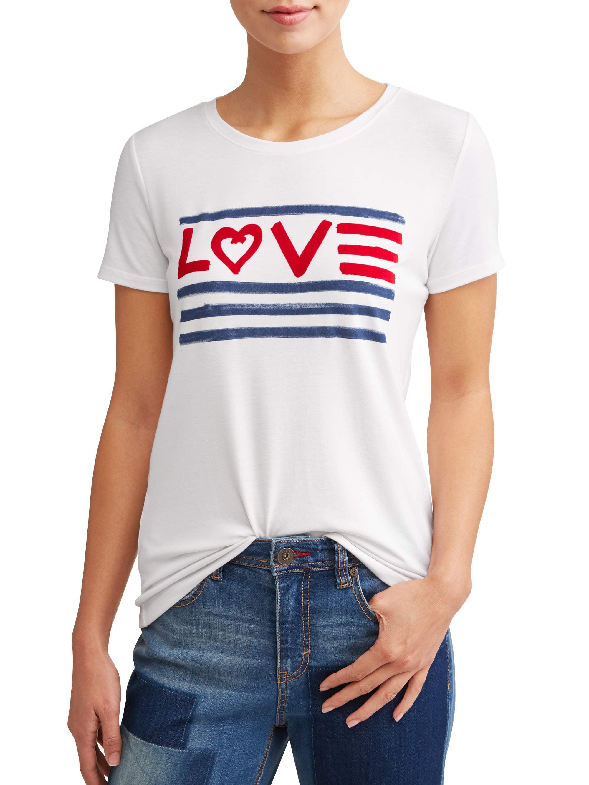 Women's Love Flag Crew Neck Tee (White)