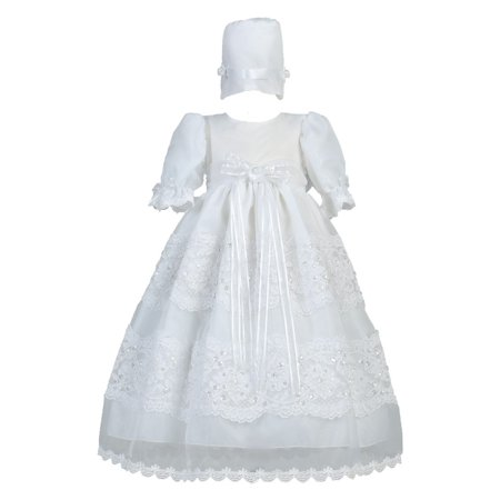Baby Girls White Organza Lace Trim Christening Gown 0-18M](Best Christening Gowns)