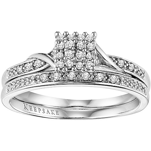 Keepsake Glamour 1/8 Carat T.W. Diamond Bridal Set in 10kt White Gold