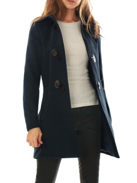 Women Turn Down Collar Slant Pockets Worsted Toggle Coat