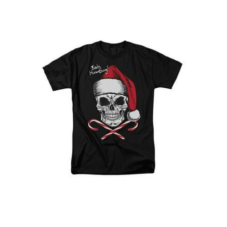 Bah, Humbug! Skull Christmas Adult T-Shirt Tee - Bah Humbug Halloween