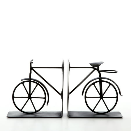 Decorative Tabletop Bicycle Bookend Black, Set of 2