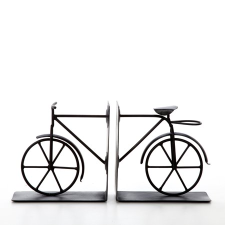 Michigan Bookends (Decorative Tabletop Bicycle Bookend Black, Set of 2)