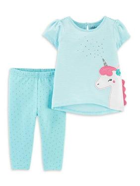 Child of Mine by Carter's Unicorn Short Sleeve Shirt and Pant Set, 2pc set