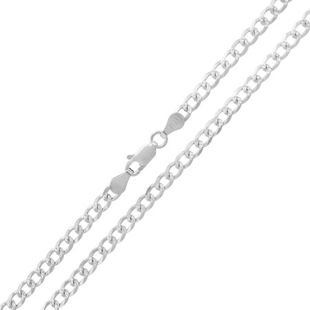 Sterling Silver Cuban Link (Sterling Silver Italian 3.5mm Cuban Curb Link Diamond-Cut ITProlux Solid 925 Necklace Chain 16