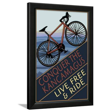 Conquer the Kancamagus, New Hampshire - Mountain Bike Framed Print Wall Art By Lantern