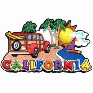 Woody Surfboard - California Woody Surfboard Collage Laser Cut Out Magnet 50858, California Woody Collage Laser Cut Out Magnet By City Coffee Mugs From USA