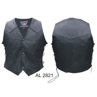 Kid's Fashion XL Size Side laced vest in Split Cowhide Leather With Black hardware
