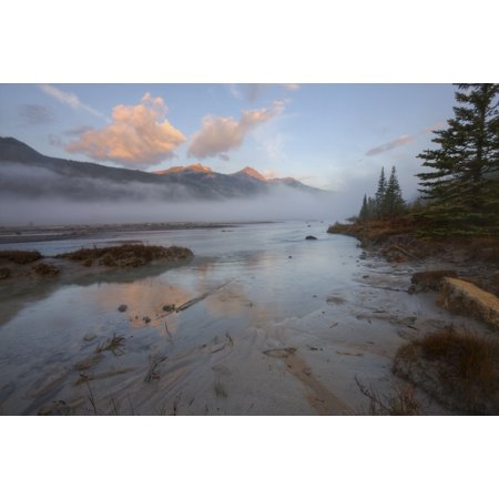 Early Morning On Sandy Banks Of Sunwapta River Jasper National Park Alberta Canvas Art   Dan Jurak  Design Pics  34 X 22