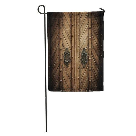 SIDONKU Brown Wooden Old Antique Door Gate Church Secret Front Open Garden Flag Decorative Flag House Banner 12x18