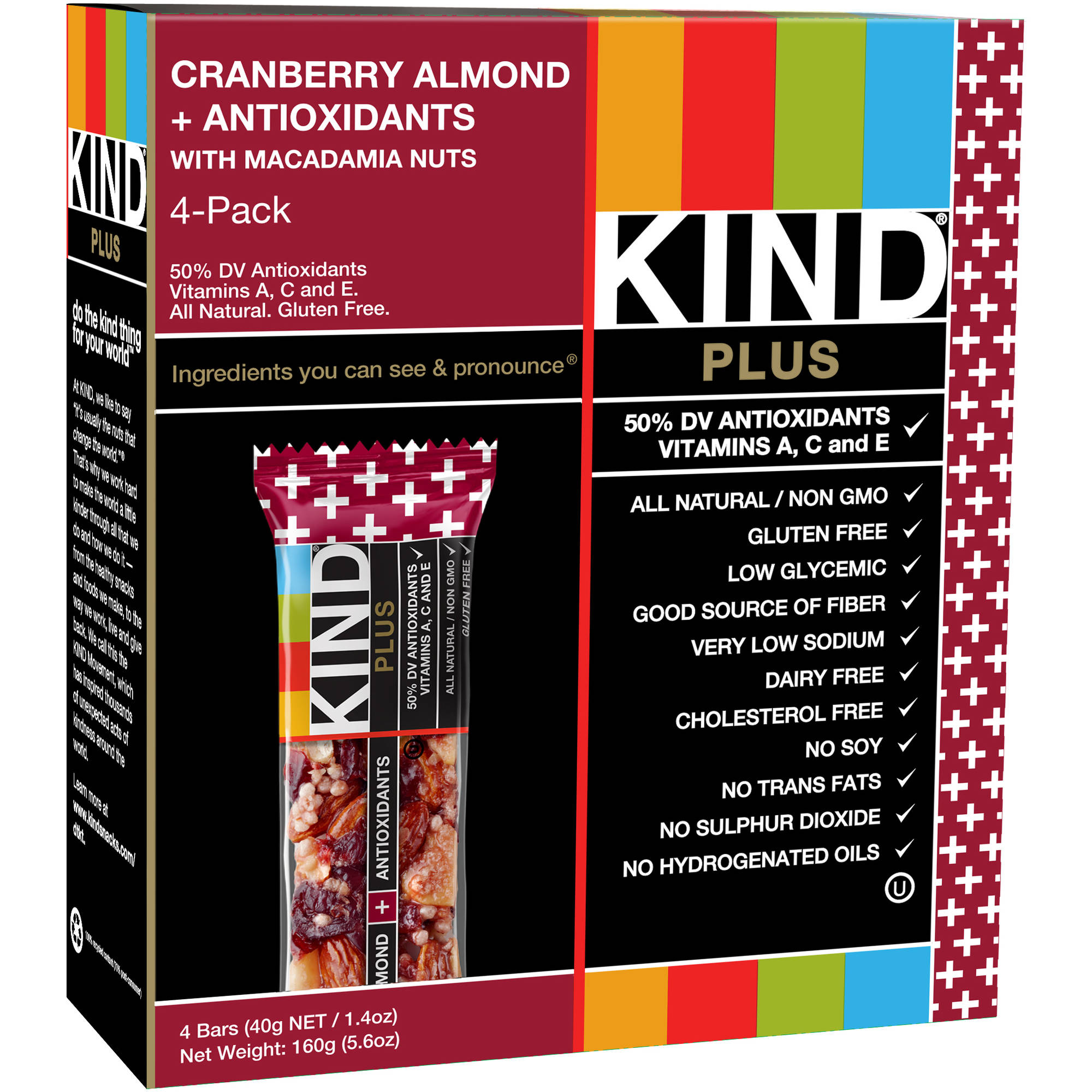 KIND PLUS Bars, Cranberry Almond  Antioxidants with Macadamia Nuts, 1.4 Ounces, 4 Count