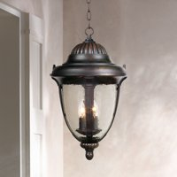 "John Timberland Traditional Outdoor Ceiling Light Hanging Lantern Bronze 20 1/2"" Seedy Glass Damp Rated for Exterior Porch Patio"