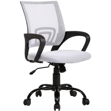 Ergonomic Office Chair Mesh Desk Chair Task Computer Chair Lumbar Support Modern Executive Adjustable Rolling Swivel Chair for Back Pain, White