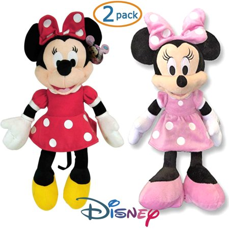 "Disney Minnie Mouse 2 15"" Plush Toy Stuffed Character Dolls Minnie Red Dress & Minnie Pink Dress Kids Minnie Mouse Twins"