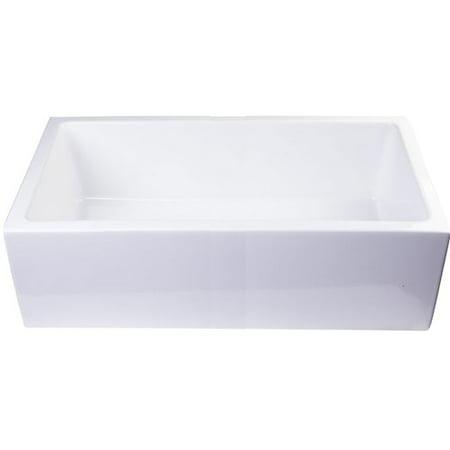 Alfi Brand Smooth Apron Single Bowl Ceramic Rectangular Vessel Bathroom Sink