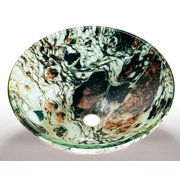 Glass Vessel Sink in Multicolor with Mounting Ring