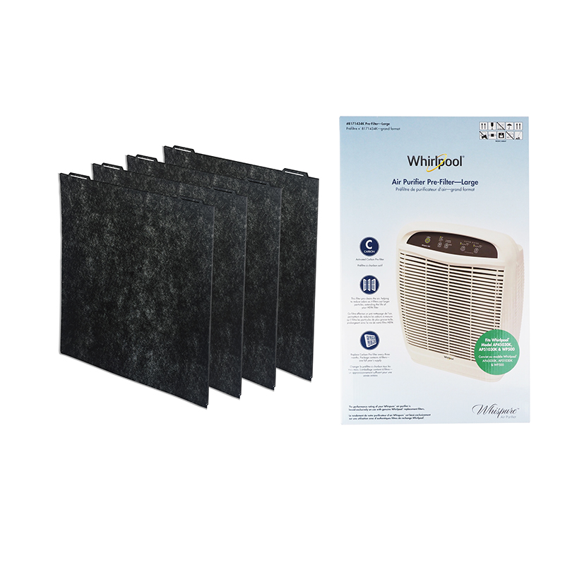 Whirlpool 8171434K Genuine Charcoal Pre-Filter 4-Pack, Air Purifier Charcoal Large Replacement Filter