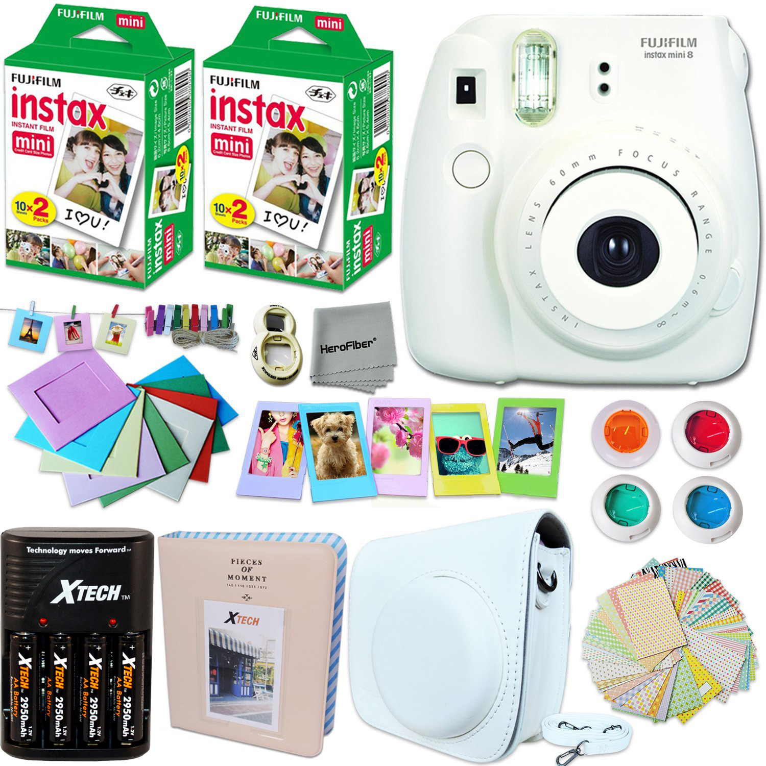 FujiFilm Instax Mini 8 Camera WHITE + Accessories KIT for Fujifilm Instax Mini 8 Camera includes: 40 Instax Film + Custom Case + 4 AA Rechargeable Batteries + Assorted Frames + Photo Album + MORE