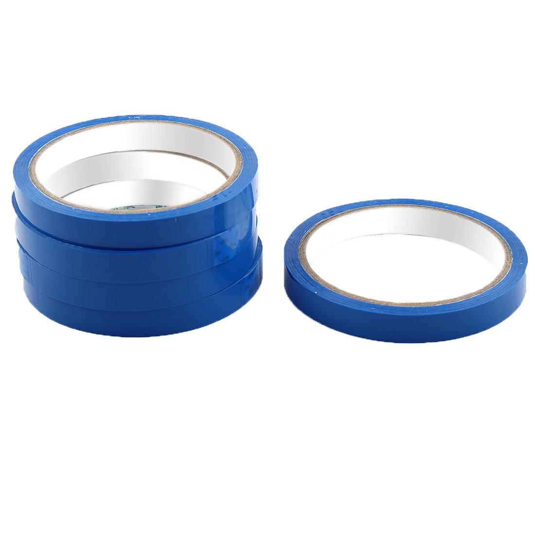 Supermarket PVC Vagetable Fruit Sealing Adhesive Tape Dark Blue 1.2cm Width 5pcs