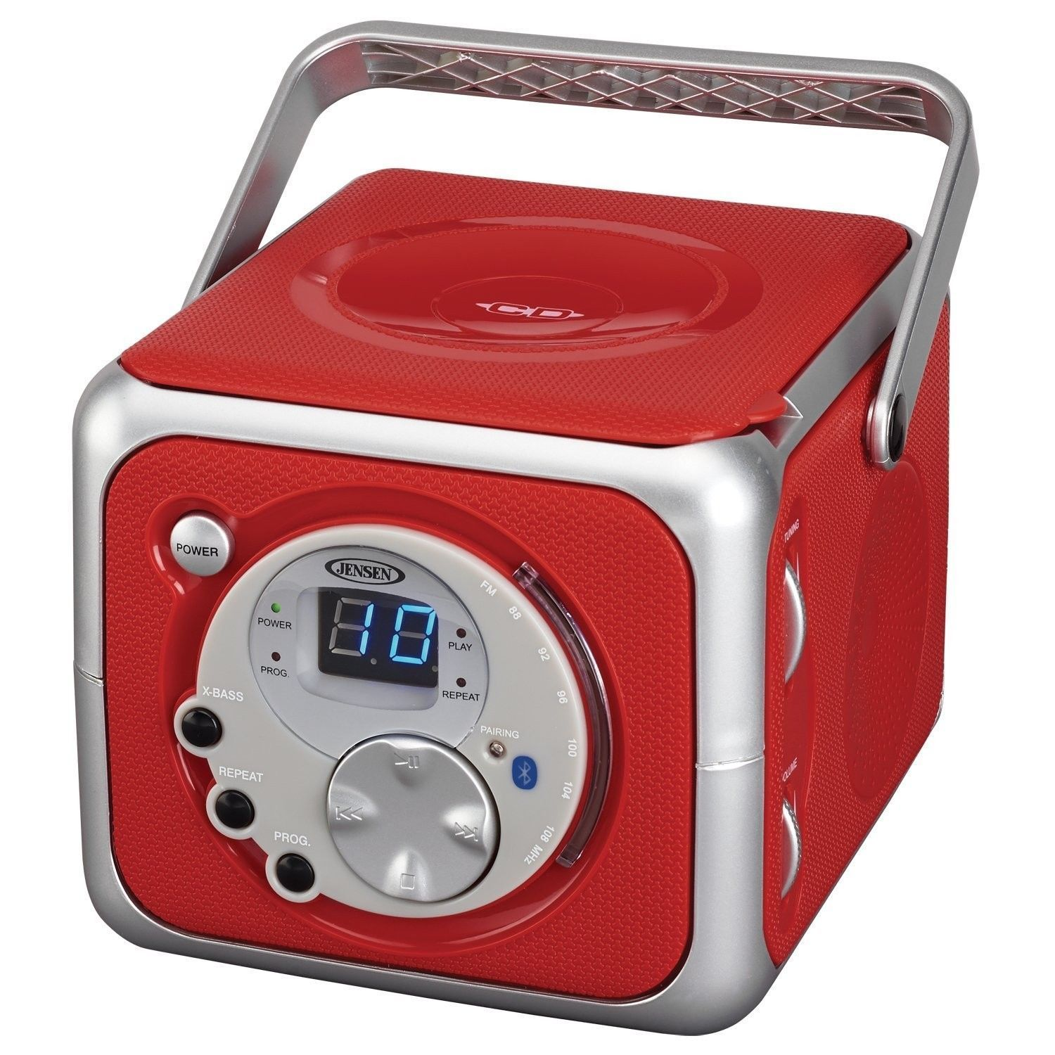 Jensen CD-555 Limited Edtion Portable Bluetooth Music System with CD Player RED