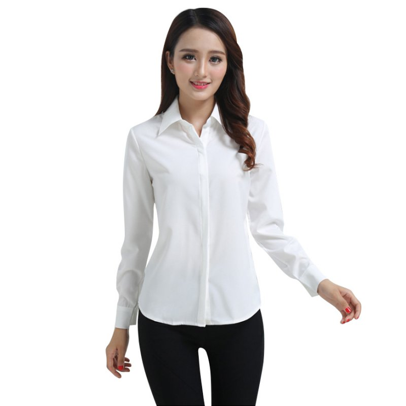 4a0decd4 EFINNY - EFINNY Office Lady Long Sleeve Formal Button Down Blouse -  Walmart.com