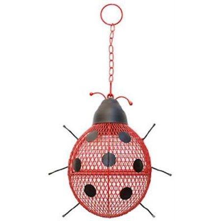 No/No Ladybug Mesh Wild Bird Feeder Holds Up To 6 LB Of Seed Powder Coated