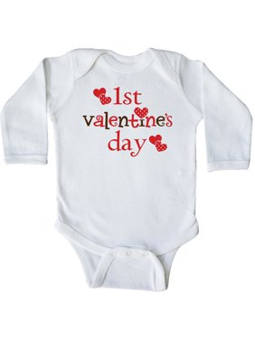 1st Valentine Day cute Long Sleeve Creeper