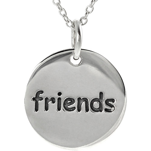 """Brinley Co. Sterling Silver Friends"""" Disc Pendant, 18"""""""""""