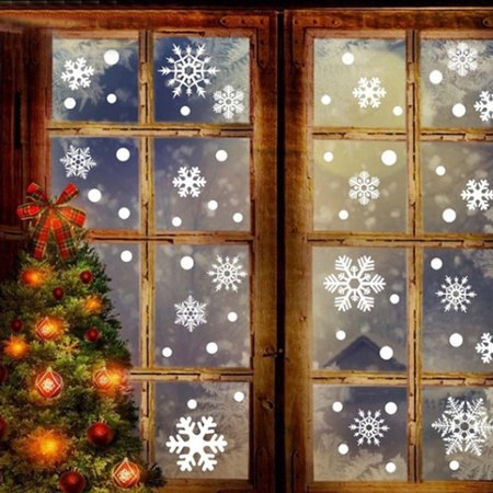 76 + Christmas Snowflake Window Clings Decorations -Winter Wonderland Xmas Party Stickers Decal Ornaments](Snowflake Window Decals)