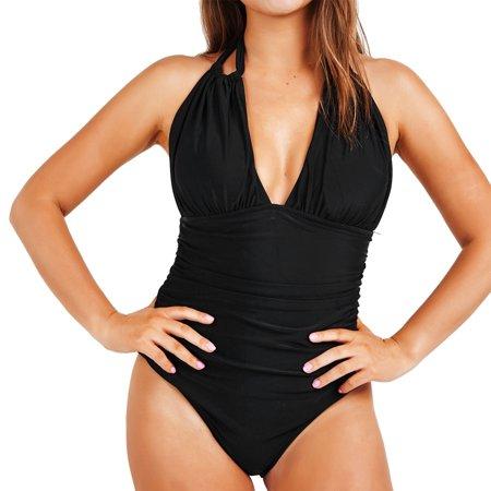 Cupshe Womens Solid Deep V Neck Halter One Piece Bikini Swimsuit Beach Swimwear