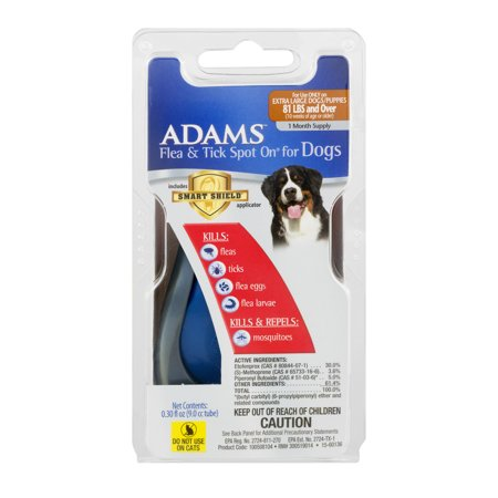 Adams Flea and Tick Spot On For Extra-Large Dogs with Applicator, 1 Month