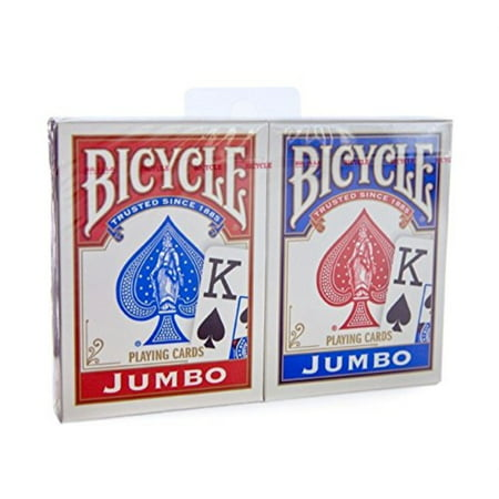 Bicycle Jumbo Index Rider Back Playing Cards, Red and Blue, 2 Count - Bicycle Playing Cards Bulk
