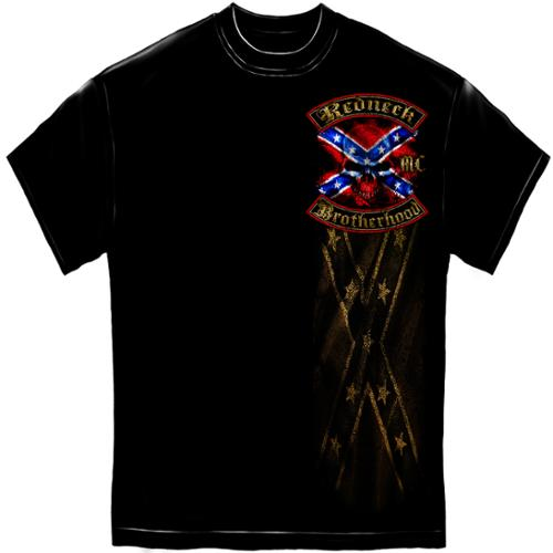 Novelty Men's  Redneck Brotherhood Distressed Gold Foil T-shirt Black
