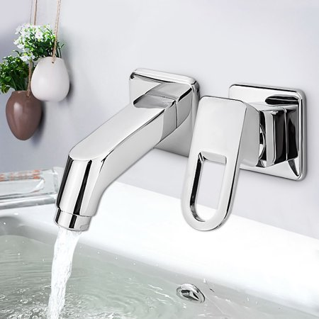 Chrome Bathroom Kitchen Basin Sink Cold/Hot Water Faucet Mixer Tap Wall Mounted