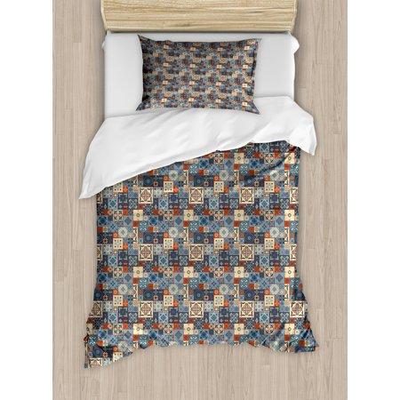 Moroccan Duvet Cover Set, Grid Style Square Pattern Ornamental Arabesque Oriental Tunisian, Decorative Bedding Set with Pillow Shams, Slate Blue Cream Dark Orange, by Ambesonne ()