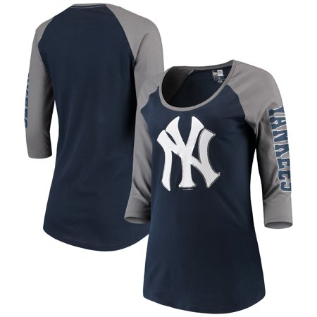 New York Yankees 5th & Ocean by New Era Women's Foil 3/4-Sleeve T-Shirt - Navy/Gray