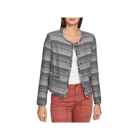 1.State Womens Tweed Fringe Jacket Navy XS