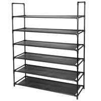 6-Tier Fabric Shoe Rack,Black-SortWise™