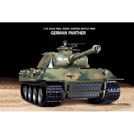 2.4Ghz Radio Remote Control 1/16 German Panther RC Airsoft Battle Tank w/Sound & Smoke R/C