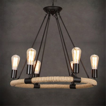 Industrial Retro Style Rope Chandelier Ceiling Lights Fixtures Lighting Lamp ()