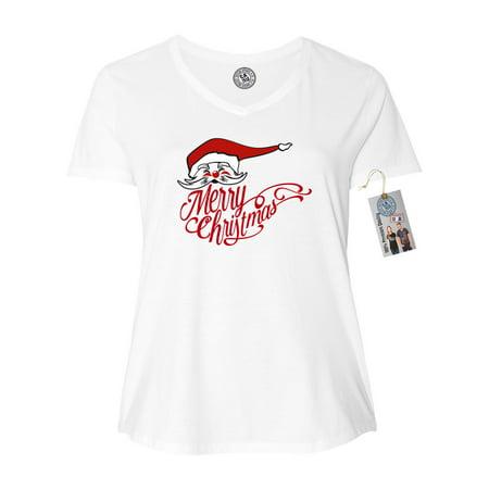 Merry Christmas Santa Plus Size Women V Neck T-Shirt