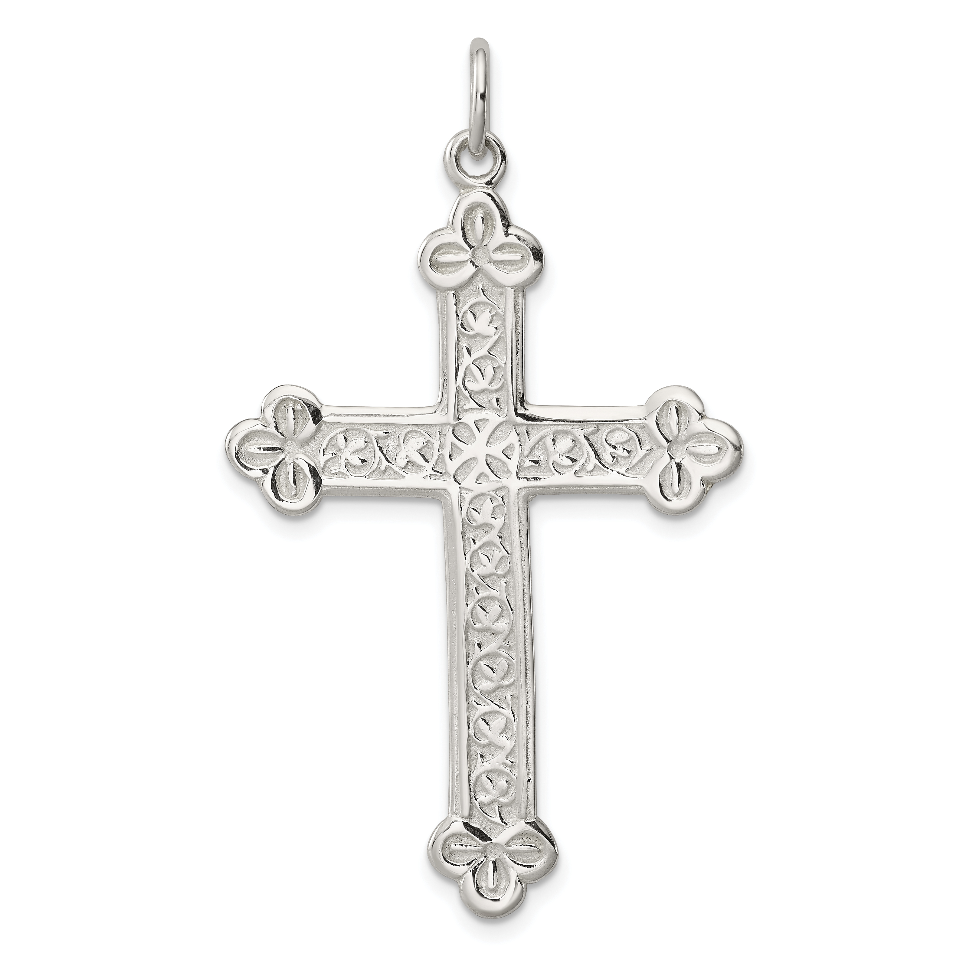 Jewels Obsession Cross Necklace Rhodium-plated 925 Silver Budded Cross Pendant with 16 Necklace