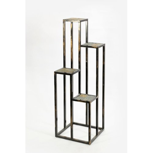 "47.25"" 4 TIER GRAY STONE SLAB CAST-IRON PLANT STAND"