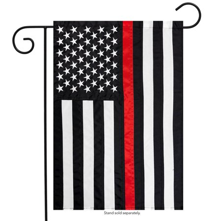 Thin Red Line Garden Embroidered Flag Firefighter 12.5