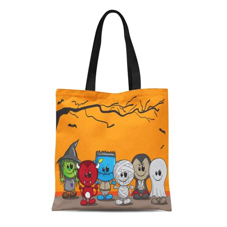 SIDONKU Canvas Tote Bag Orange Cute Halloween Witch Devil Monster Mummy Dracula Reusable Shoulder Grocery Shopping Bags Handbag (Monster Handbag)
